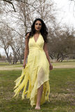 Young Teen East Indian Woman Yellow Dress Royalty Free Stock Image