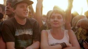 Young teen fan cheering dance in open air concert stock video footage