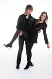 Young Teen girl & Boy in black clothes Stock Photo