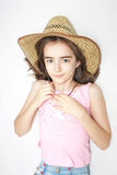 Young teen girl with cowboy hat Stock Photo