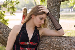 Young teen girl feel rejected. Teen at risk, a young gothic teen girl feels rejected by society Royalty Free Stock Photo