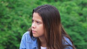 Young Teen Girl Listening stock video footage