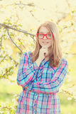 Young teen girl in red glasses Royalty Free Stock Photos