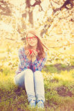 Young teen girl in red glasses Royalty Free Stock Photography