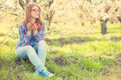 Young teen girl in red glasses Stock Image