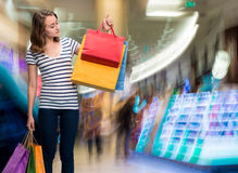 Young teen girl with shopping bags Stock Photos