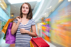 Young teen girl with shopping bags Stock Photography