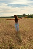 Young woman girl standing with her back with open arms to the sunset on a wheat field in the countryside. Young teen girl standing with her back with open arms royalty free stock images