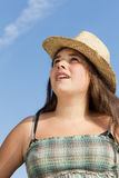 Young teen girl with sun hat Royalty Free Stock Images