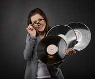 Young  teen girl with vinyl records Royalty Free Stock Image