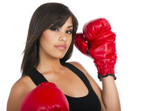 Young teen girl wearing boxing gloves Stock Photography