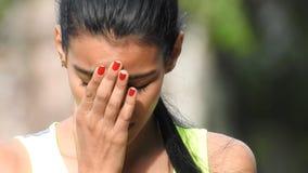 Sad stressed female teen stock video
