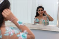 Teenager In Quinceanera Dress stock photography