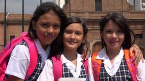 Catholic Pretty Girl Students Wearing School Uniforms stock photos