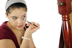 Young Teen Learing Makeup Stock Images