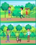 Young Teen, People Jogging in Park Set Vector stock illustration