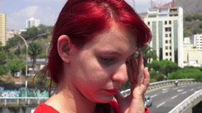 Young Teen Redheaded Girl Tearful And Unhappy. Stock video in 4k or HD resolution stock video footage