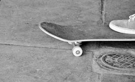 Young teen on skateboard in skate park royalty free stock photography