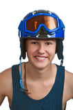 Young teen skier ready for the sunny slopes. Teenager happy to be out on the slopes on a warm sunny day Royalty Free Stock Images