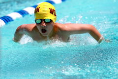 Young teen swims butterfly Stock Photography