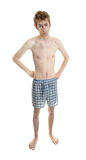 Young teen in underwear. A young white Caucasian adult wearing underwear isolated on white Stock Images