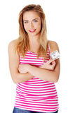 Young teen woman with dollars. Royalty Free Stock Photography