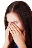 Teen woman with sinus pressure pain Stock Photo