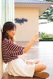 Young teen woman take a selfie by smart phone Stock Photos