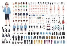 Young teenage boy DIY kit. Set of teenager`s body parts in different positions, various subcultures` attributes, clothes. And accessories isolated on white royalty free illustration