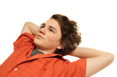 Young teenage boy looking up at sky Royalty Free Stock Images