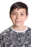 Young teenage boy with a milk moustache. After drinking milk royalty free stock photo