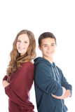 Young teenage brother and sister Stock Photo