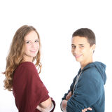 Young teenage brother and sister Stock Images