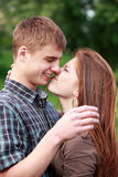 Young teenage couple outdoor Stock Photos