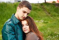 Young teenage couple outdoor Royalty Free Stock Photos