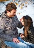 Young teenage couple outdoor Royalty Free Stock Photo