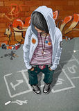 Young Teenage Girl. And Graffiti On The Wall Stock Photos