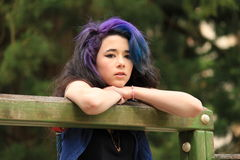 Young teenage girl. With coloured hair Royalty Free Stock Images
