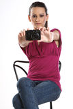 Young teenage girl with camera Stock Image