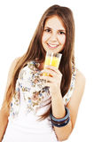 Young teenage girl drinking orange juice Stock Photos