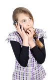 Young Teenage Girl Frightened by the Threatening Phone Calls Stock Photography