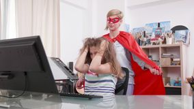 Young teenage girl gets stressed and her super mother comes to help stock video