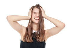 Young teenage girl with headache isolated Royalty Free Stock Photography