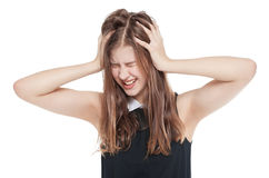 Young teenage girl with headache isolated stock image
