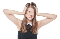 Young teenage girl with headache isolated royalty free stock image