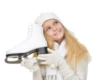 Young teenage girl holding ice skates for winter ice skating spo. Rt activity smiling isolated on a white background Royalty Free Stock Photos
