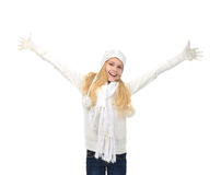 Young teenage girl holding ice skates for winter ice skating spo. Rt activity smiling isolated on a white background Royalty Free Stock Photo