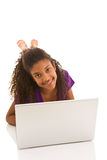 Young teenage girl with laptop Royalty Free Stock Images