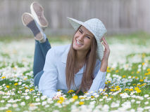 Young teenage girl in a natural idyllic environment Royalty Free Stock Photos