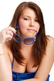 Young teenage girl playing with sunglasses Royalty Free Stock Photos